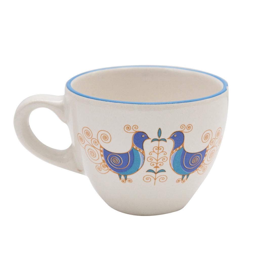 Ceasca Din Ceramica Alba Cu Pauni 5.5 Cm