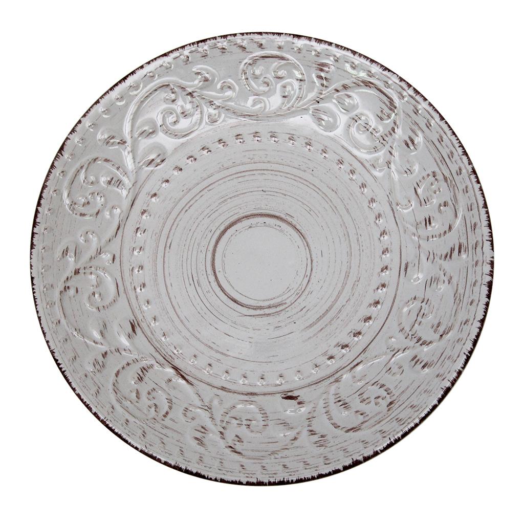 Farfurie Desert Din Ceramica Alba Cu Maro 21 Cm