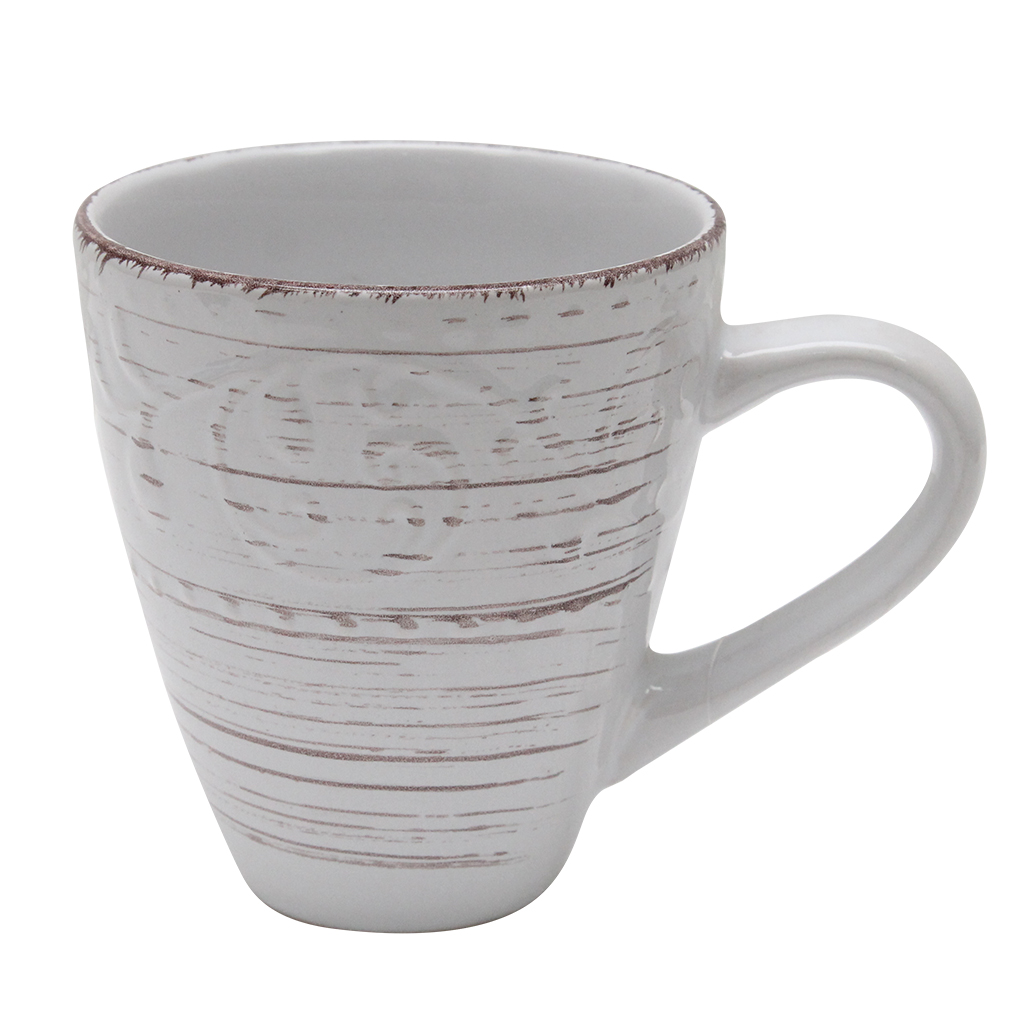 Cana Din Ceramica Alb Cu Maro 13 Cm
