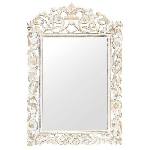 Oglinda Din Lemn Alb Antichizat 45x70 Cm