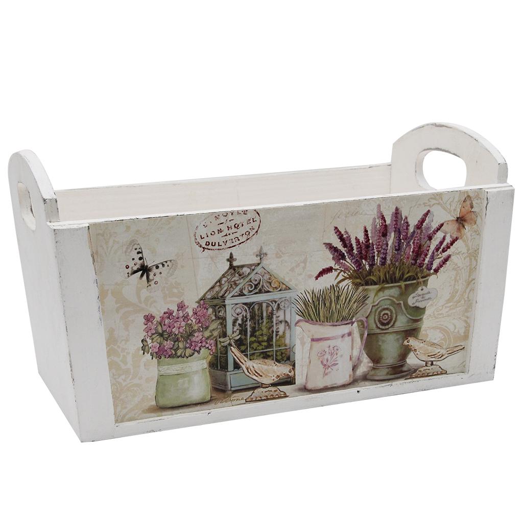 Ladita Decorativa Din Lemn Alb Cu Flori 27 Cm