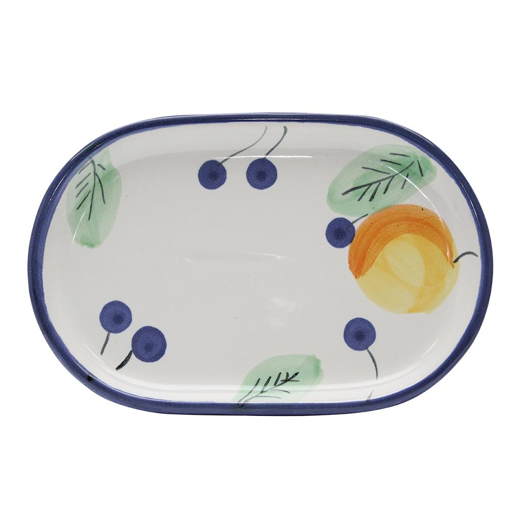 Platou Oval Din Ceramica Alba Cu Afine 26 Cm