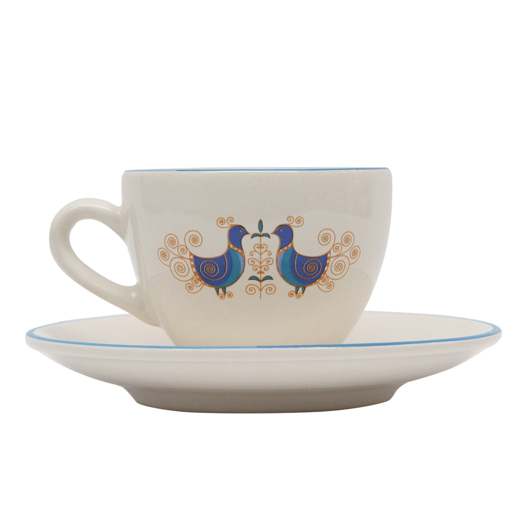 Ceasca Si Farfurie Peacock Din Ceramica Alba