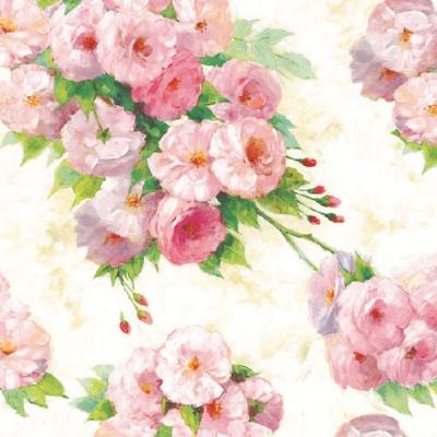 Servetele Decorative Din Hartie Crem Cu Flori Roz
