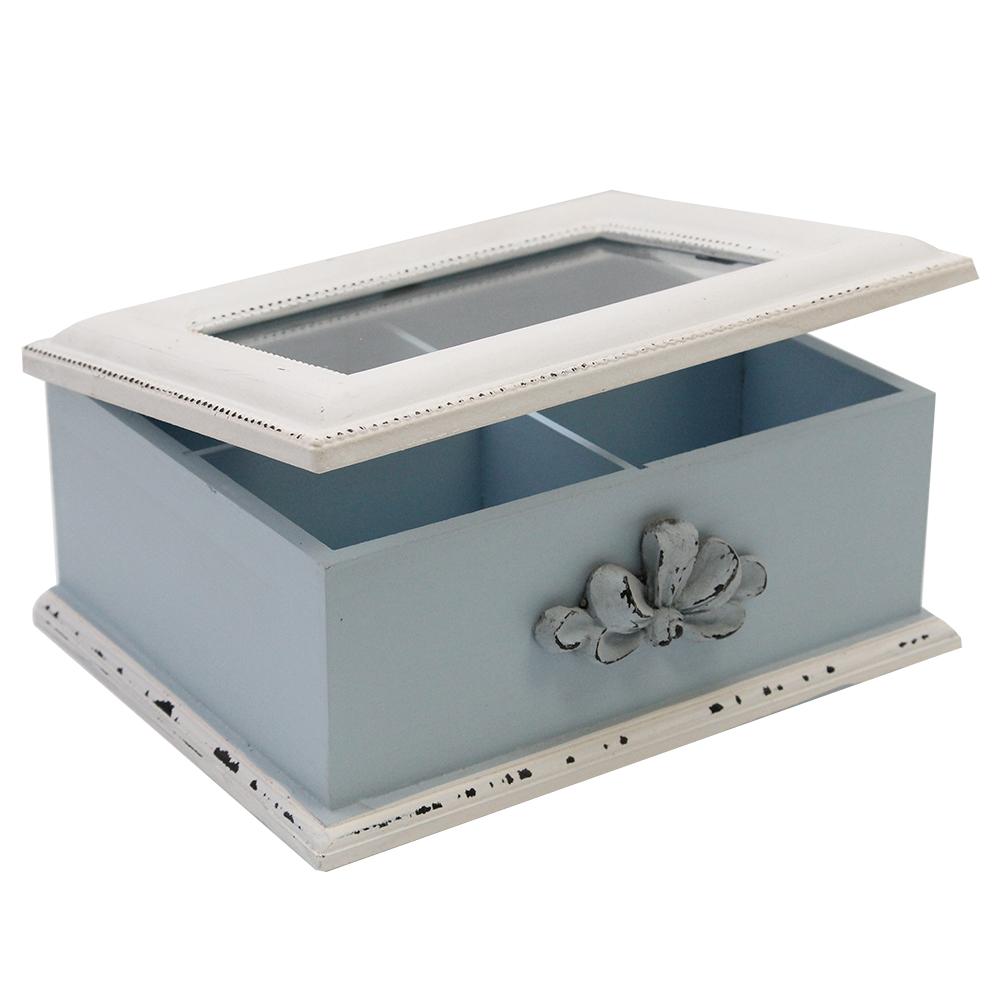 Cutie Pentru Ceai Din Lemn Albastru 20x16 Cm