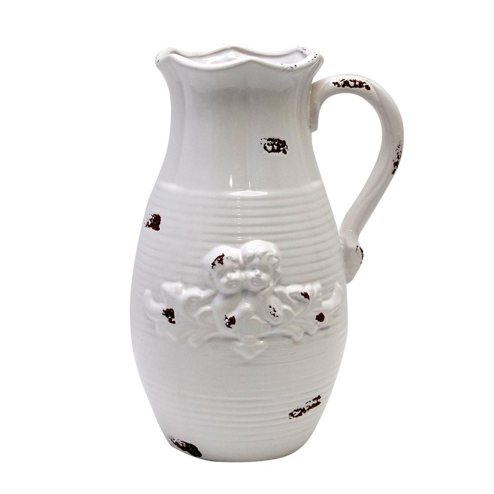 Carafa Decorativa Din Ceramica Alba 20 Cm