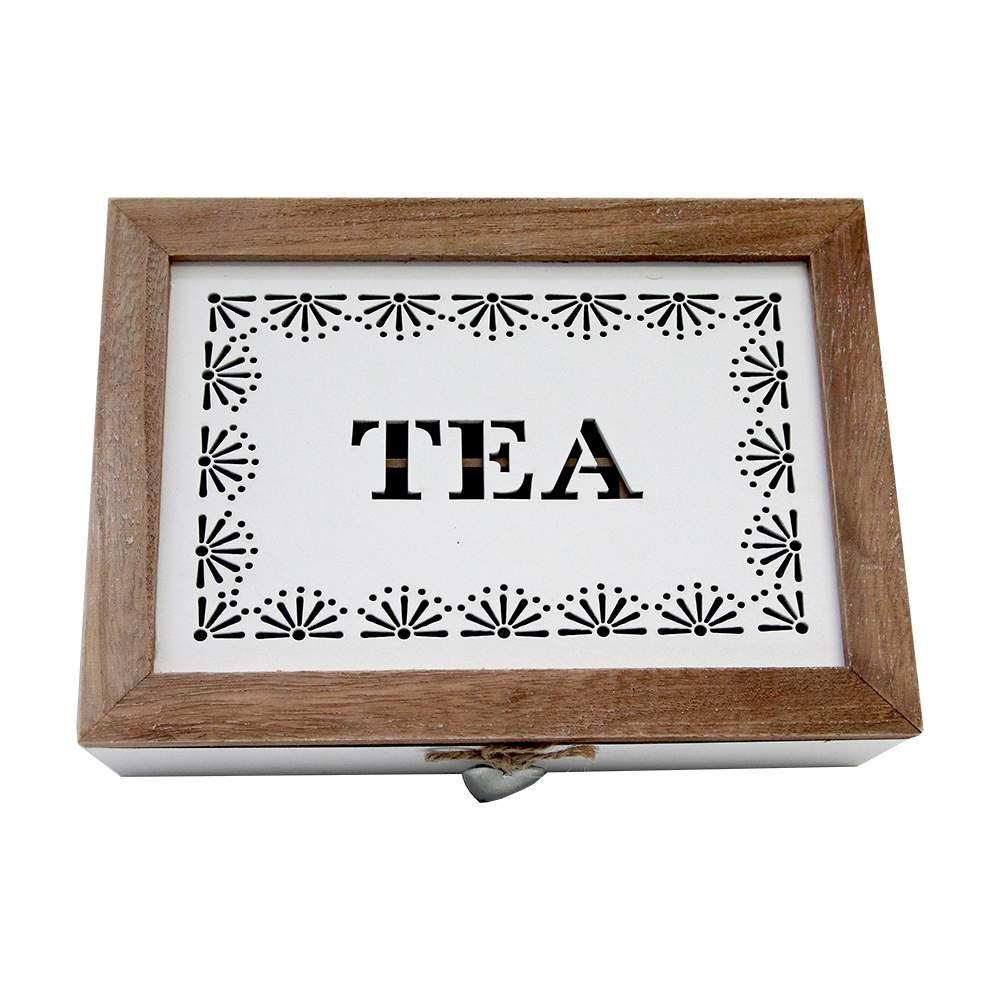 Cutie Pentru Ceai Albă Din Lemn