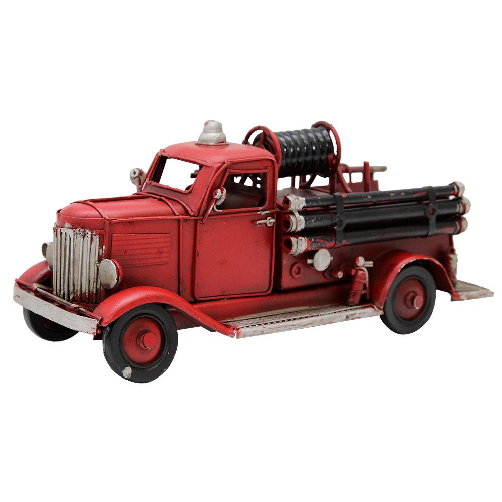 Macheta Masina De Pompieri Din Metal Rosu 22 Cm
