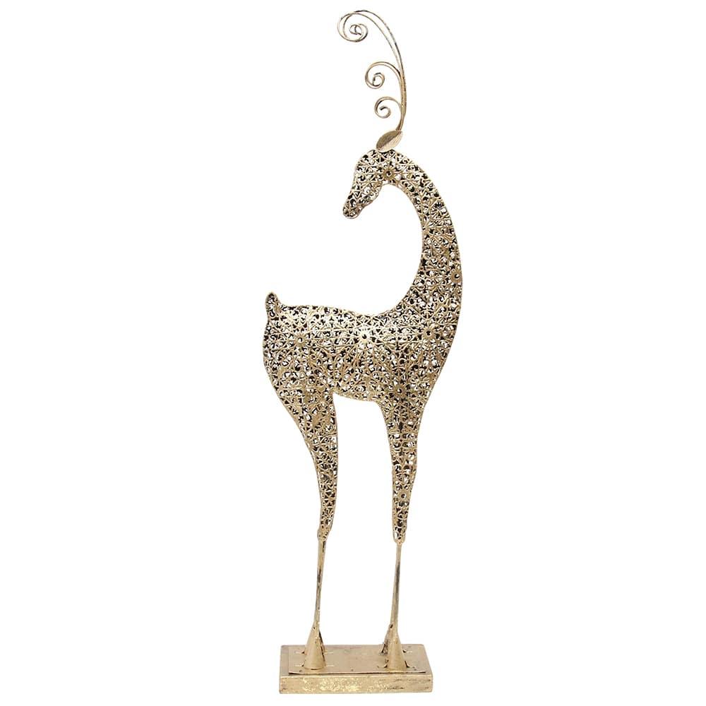 Decoratiune De Craciun Ren Din Metal Auriu 26 Cm