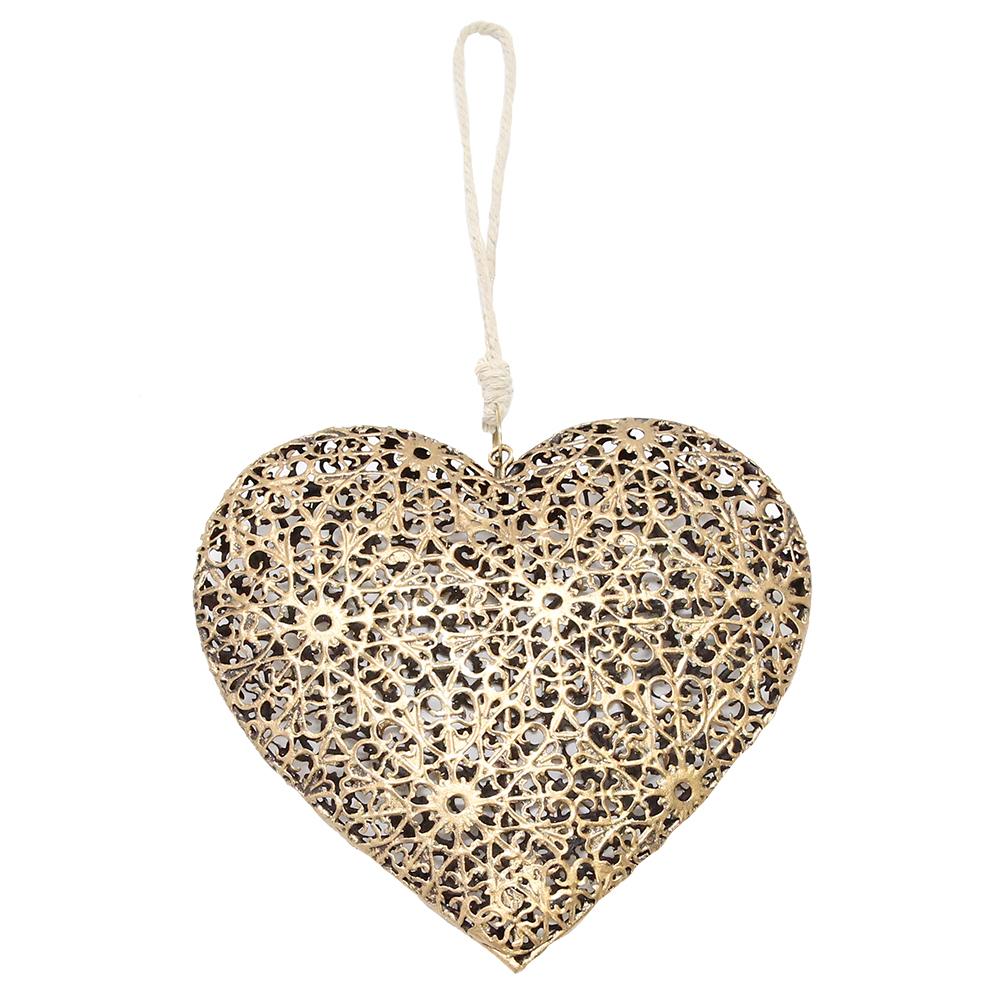Decoratiune Pentru Brad Inima Din Metal Auriu 13 Cm