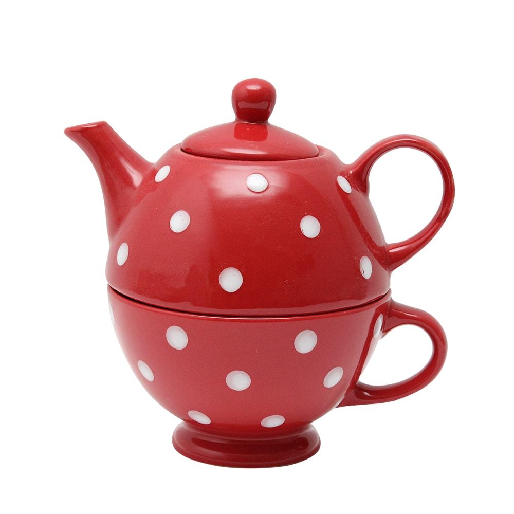 Ceainic Cu Cana Din Ceramica Rosie Cu Buline Albe