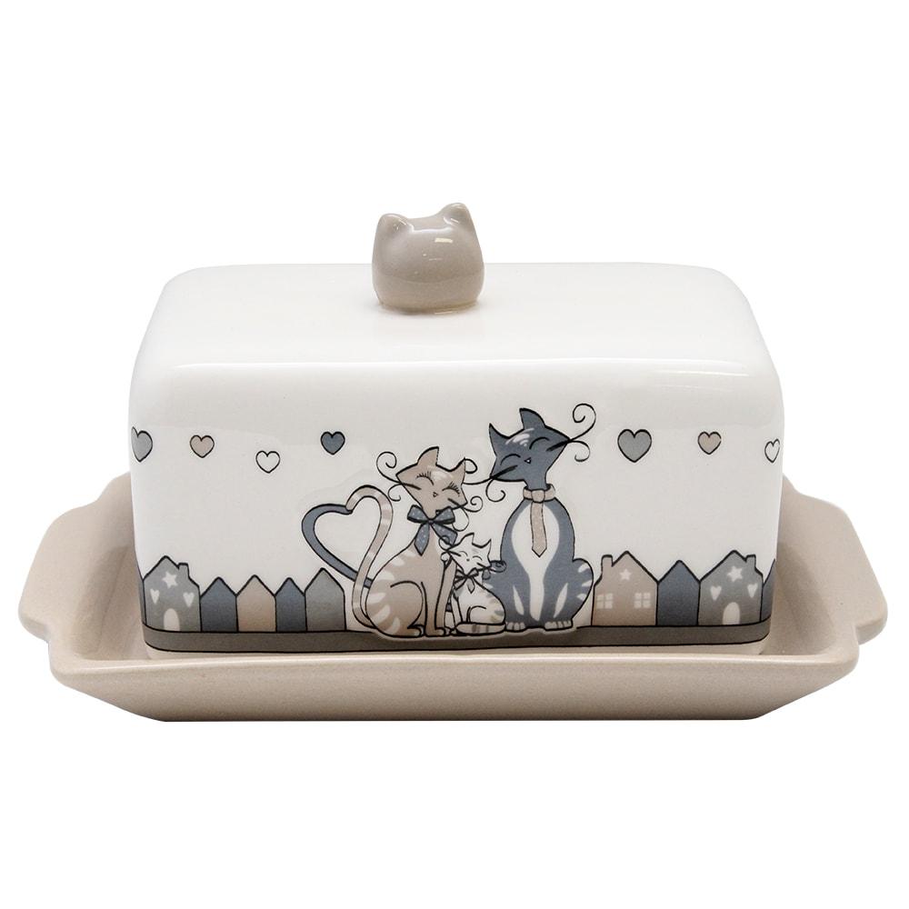Untiera Din Ceramica Cu Pisici Crem Si Gri