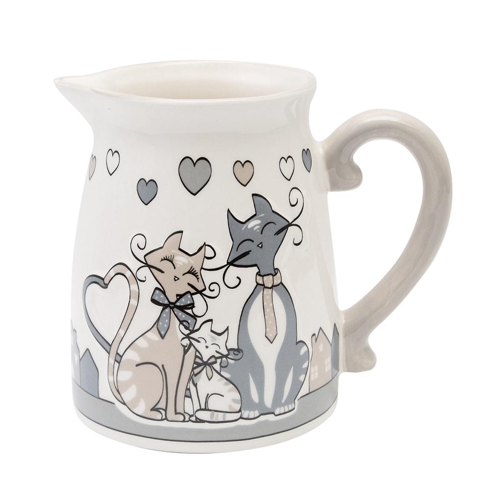 Carafa Din Ceramica Cu Pisici Crem Si Gri 12 Cm
