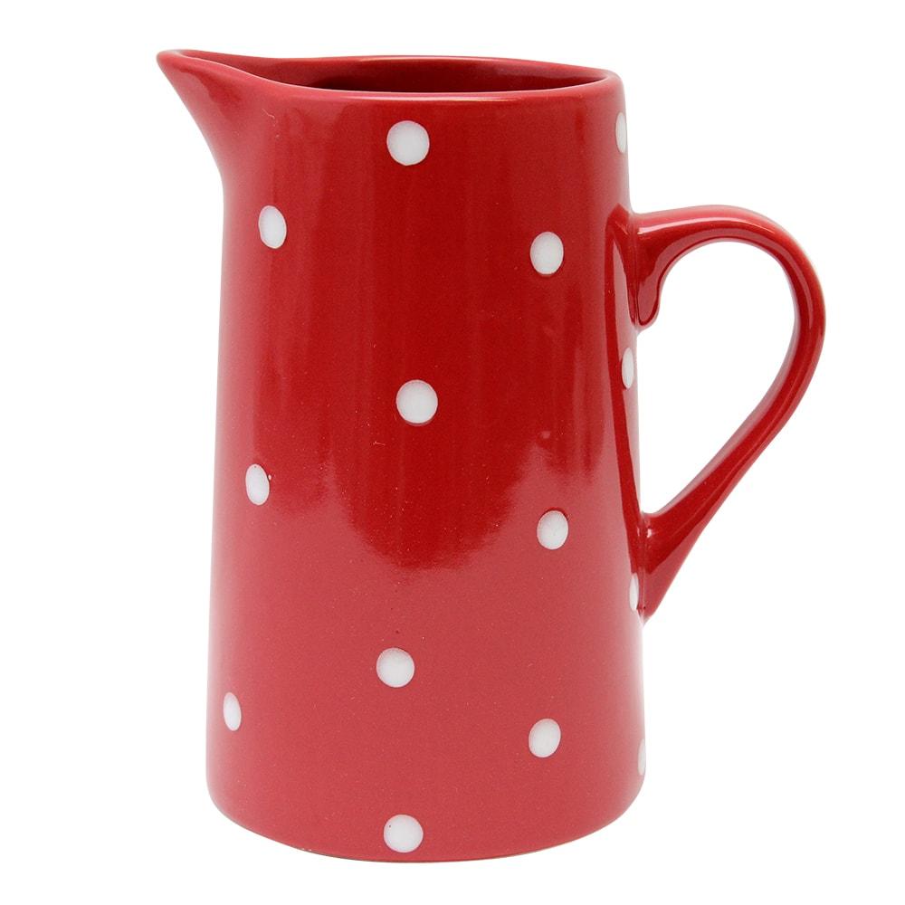 Carafa Din Ceramica Rosie Cu Buline Albe 11.5 Cm