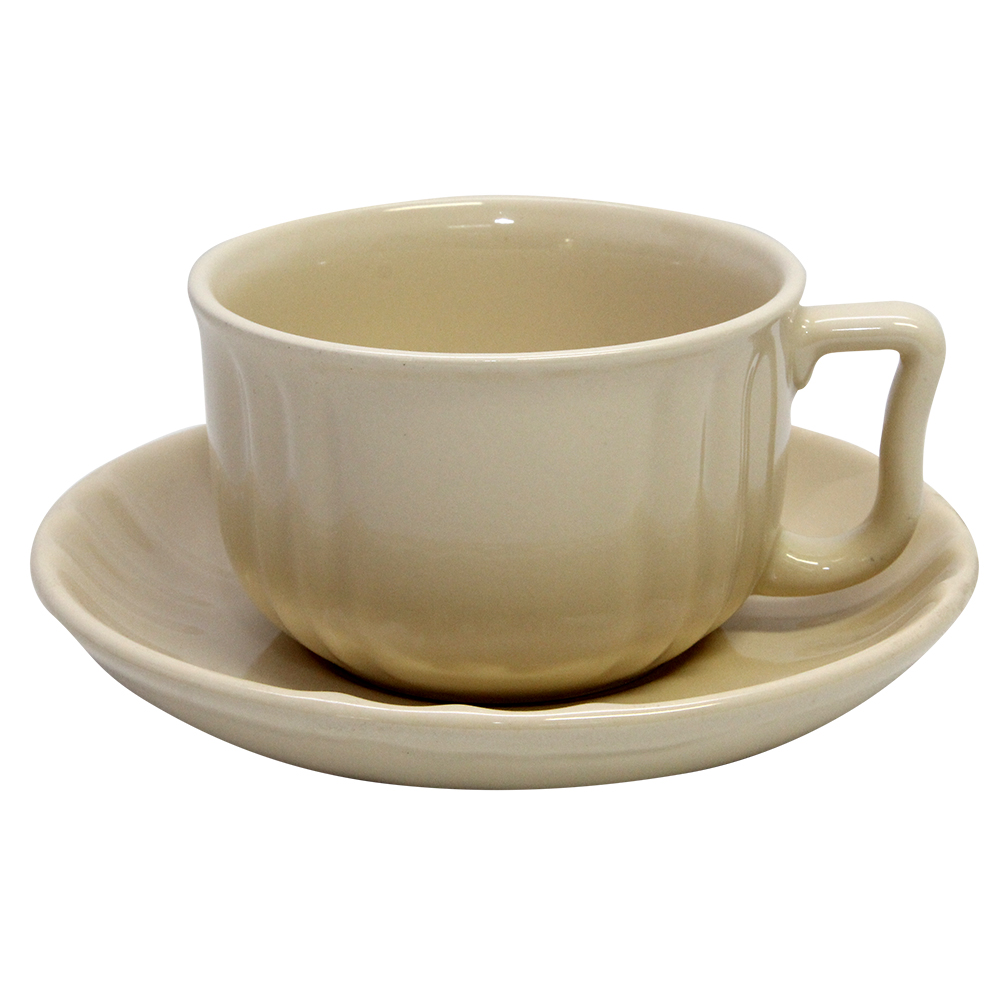 Ceasca Si Farfurie Din Ceramica Crem