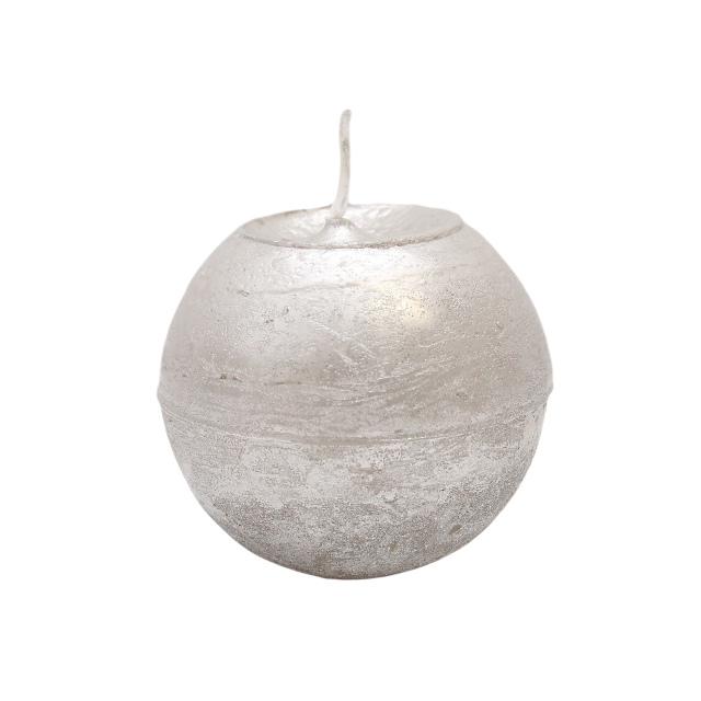 Lumanare Sferica Argintie Diametru 8 Cm