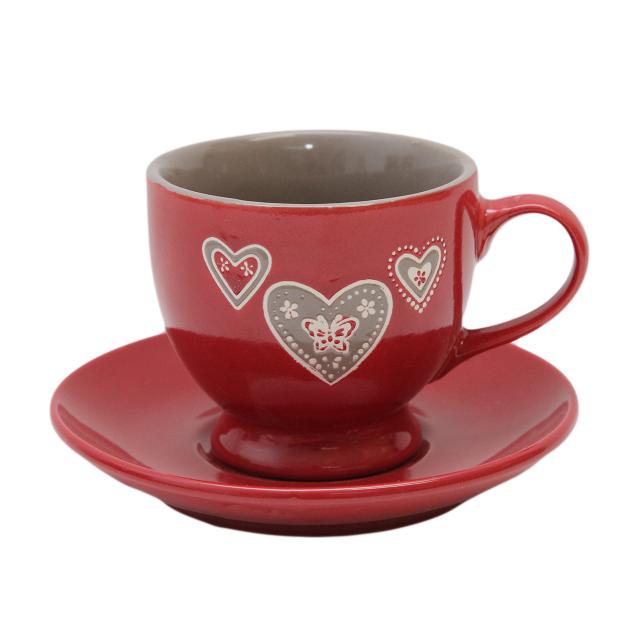 Ceasca Cu Farfurie Din Ceramica Rosie Cu Inimioare