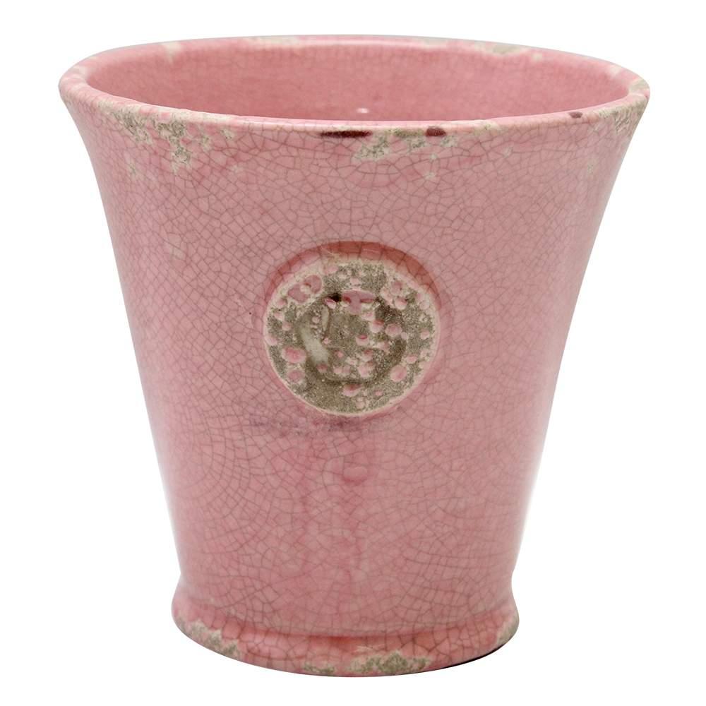 Ghiveci Din Ceramica Antichizata Roz 14x13.5 Cm
