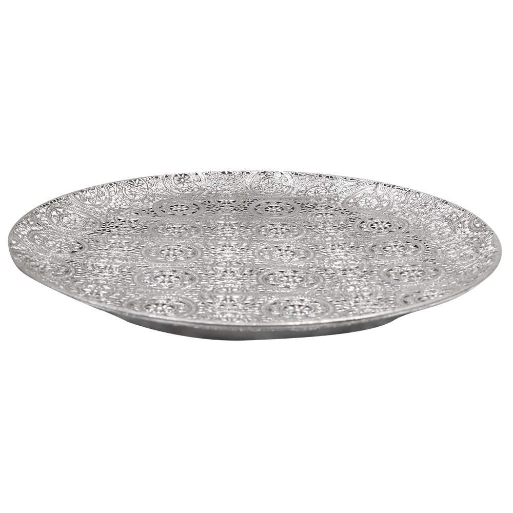 Tava Decorativa Din Metal Argintie 41x3 Cm