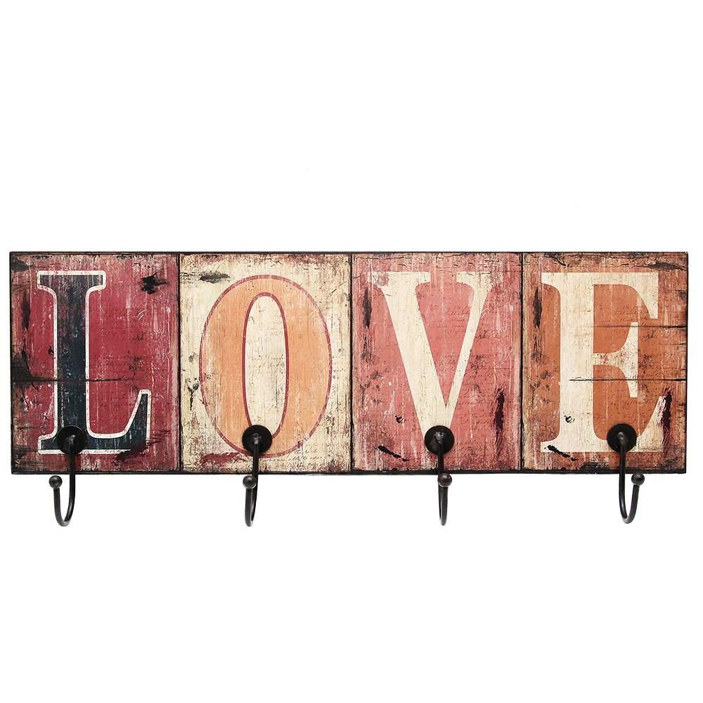Cuier Love Cu Patru Carlige 55x18 Cm