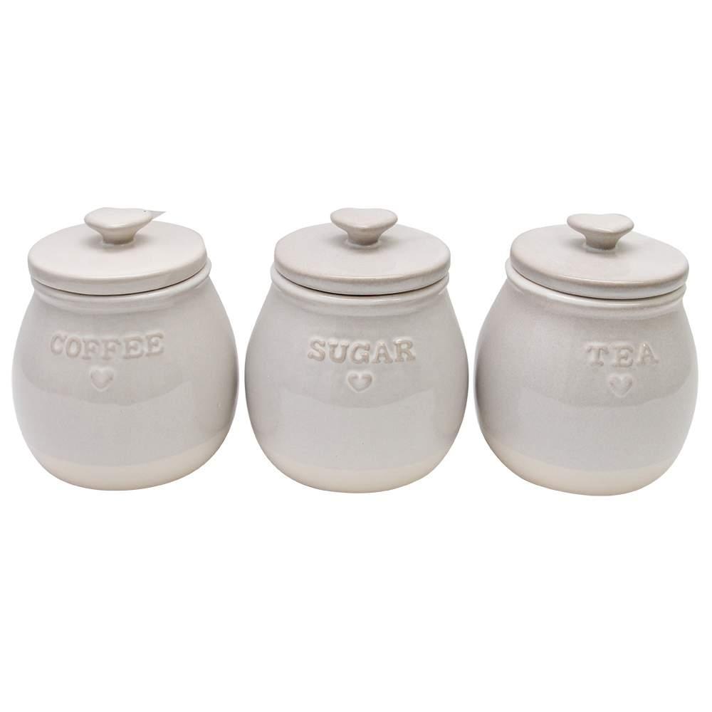 Set De Trei Recipiente With Love Din Ceramica Natu