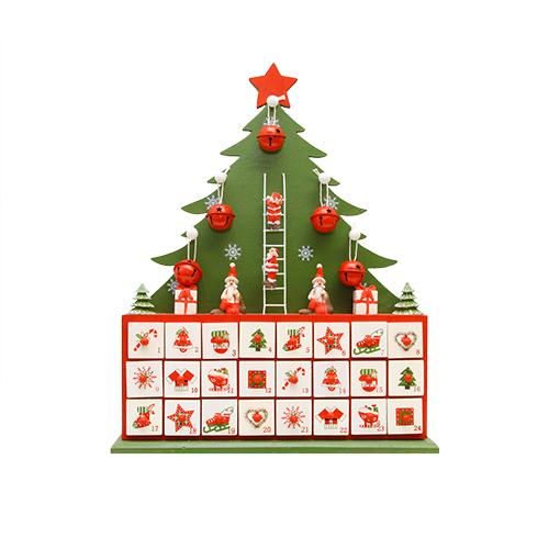 Calendar Advent Din Lemn Rosu 32x6x40 Cm