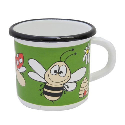 Cana Bees Din Metal Alb Cu Verde 9 Cm
