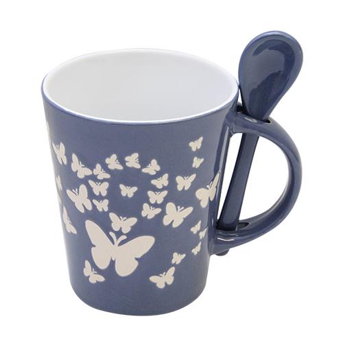 Cana Blue Butterfly Din Ceramica Albastra 11 Cm