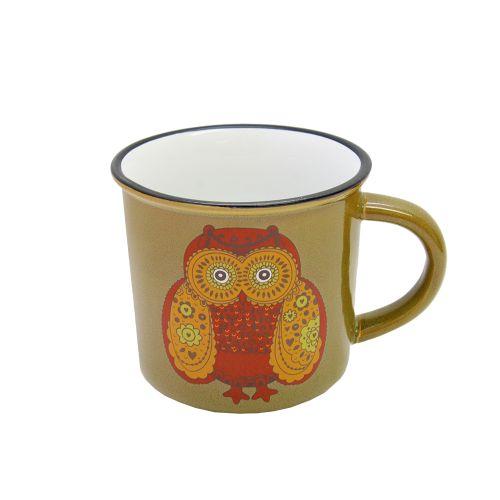 Cana Owl's Din Ceramica Verde 10 Cm