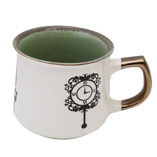 Cana Din Ceramica Vintage Cu Model Ceas 10 Cm