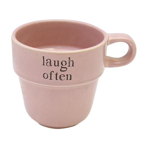 Cana Laugh Often Din Ceramica Roz 10 Cm