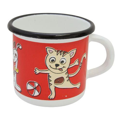 Cana Pets Din Metal Alb Cu Rosu 9 Cm