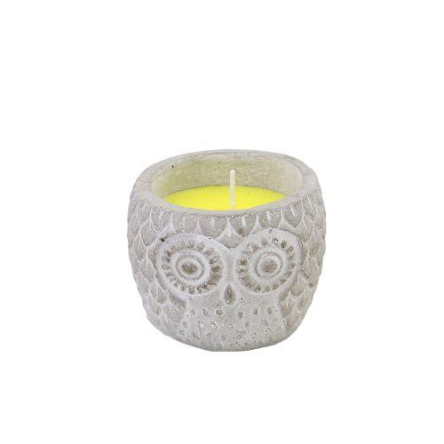 Candela Bufnita Din Ceramica Cu Lumanare Parfumata Galbena