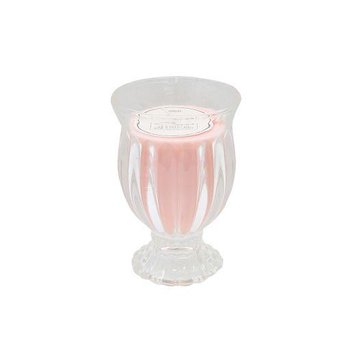 Candela Din Sticla Cu Lumanare Parfumata Roz