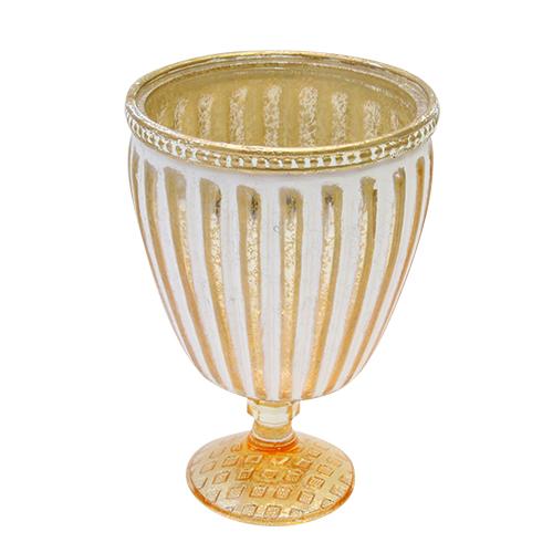 Candela Goblet Din Sticla Aurie 10.5x15 Cm