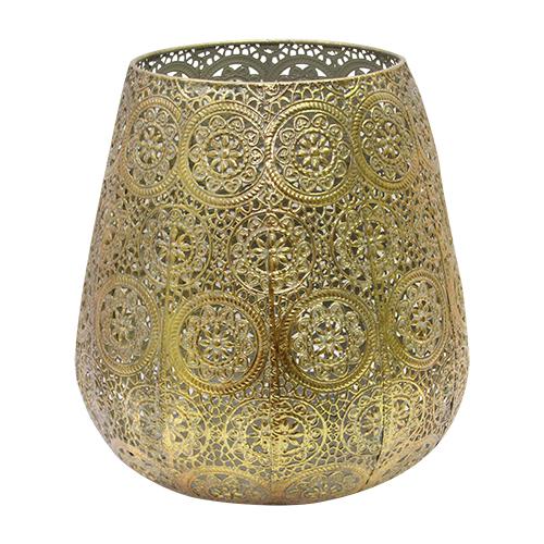 Candela Sparkle Din Metal Auriu 24x27 Cm