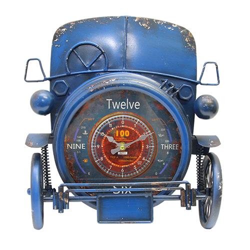 Ceas Vintage Car din metal albastru 31x12x38 cm