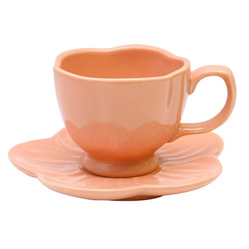 Ceasca Si Farfurie Rosaine Din Ceramica