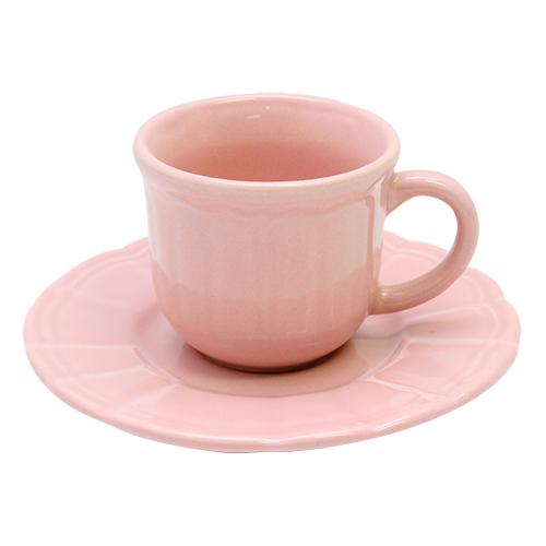 Ceasca Si Farfurie Tea Rose Din Ceramica Roz