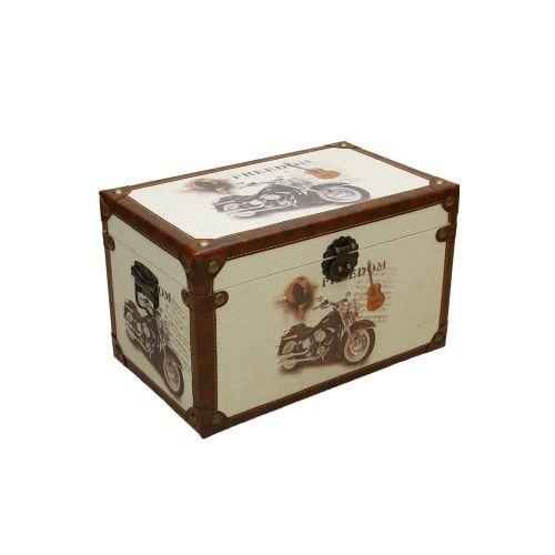 Cufar Decorativ Din Lemn Cu Motocicleta 40.5x25x25 Cm