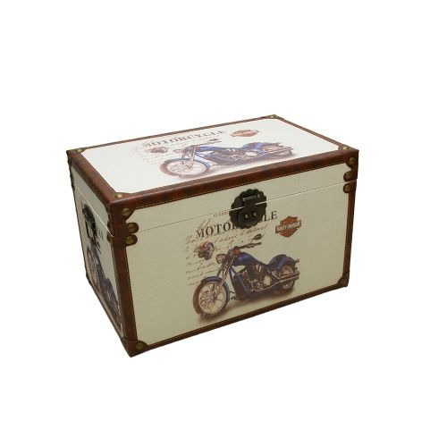 Cufar Decorativ Din Lemn Cu Motocicleta 50.5x32x31 Cm