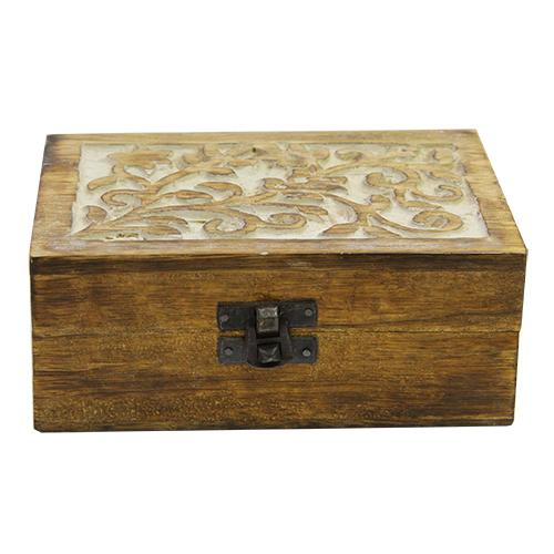 Cutie bijuterii Florisse din lemn maro 15x10x6 cm