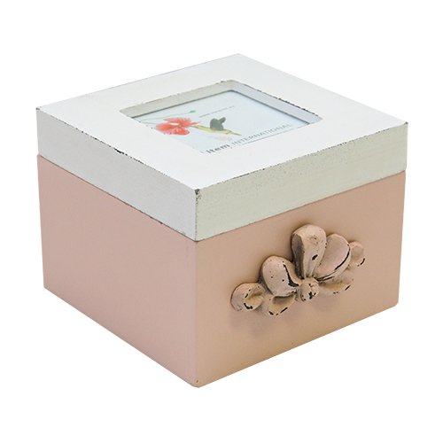 Cutie bijuterii Gracious din lemn roz 11.5x12x9 cm