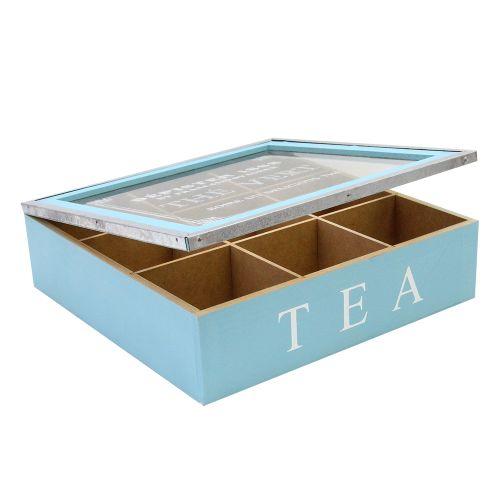 Cutie Pentru Ceai Din Lemn Albastru 24.5x24.5 Cm