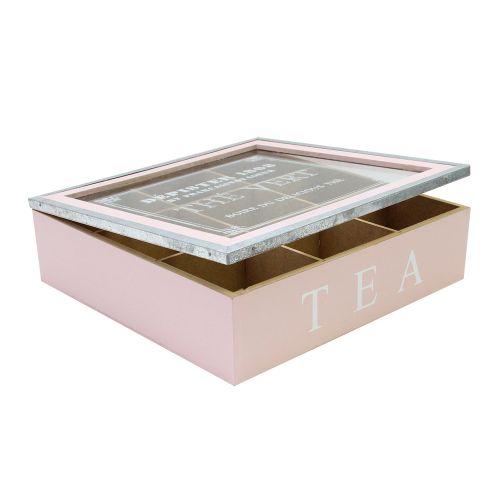 Cutie Ceai Din Lemn Roz 24.5x24.5 Cm
