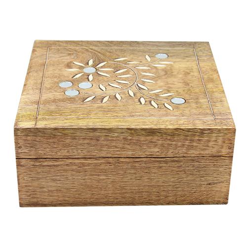 Cutie Pentru Bijuterii Agatha Din Lemn Maro 16.5x16.5x7.5 Cm