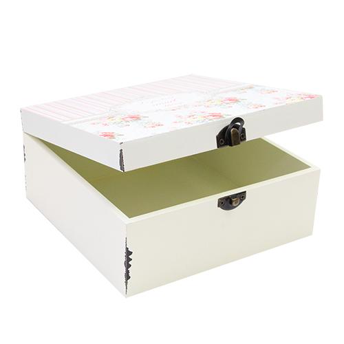 Cutie Pentru Bijuterii Roses Din Lemn Crem 15x15x6.5 Cm