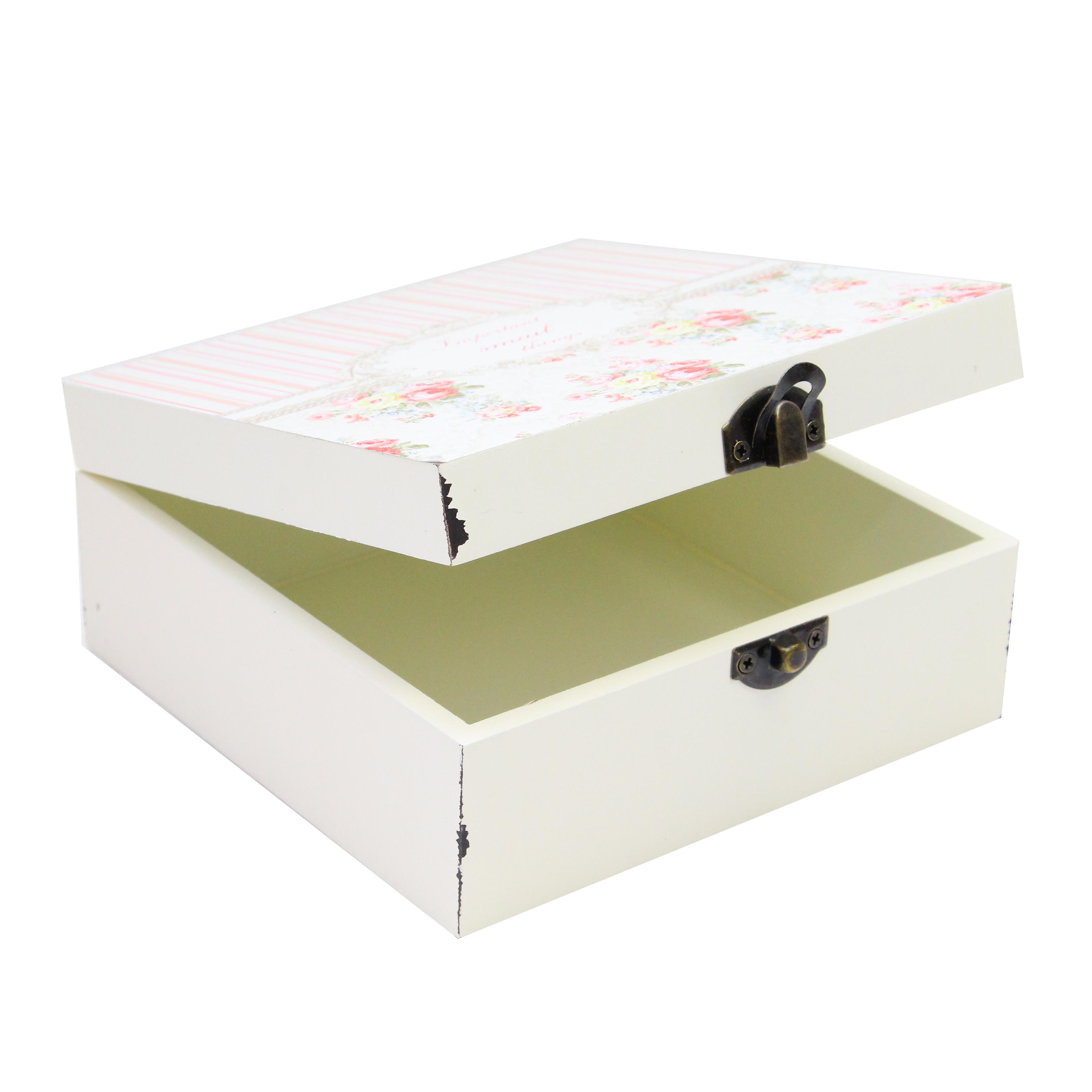 Cutie Pentru Bijuterii Roses Din Lemn Crem 18x18x8.5 Cm