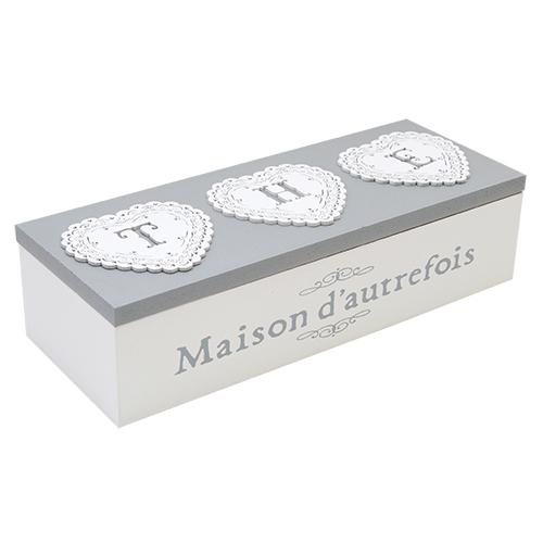 Cutie Pentru Ceai Maison Din Lemn Alb 23.5x9x6 Cm