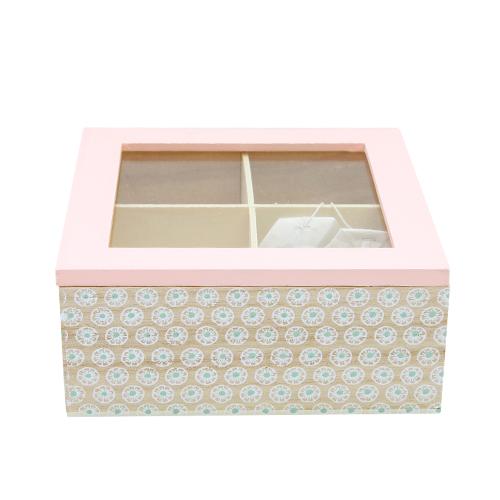 Cutie Pentru Ceai Moments Din Lemn Roz 16x16x7 Cm